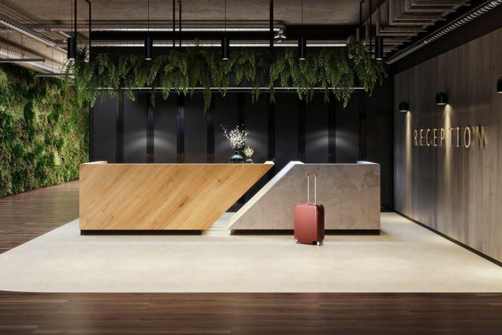 panele podłogowe wineo 1200 w recepcji