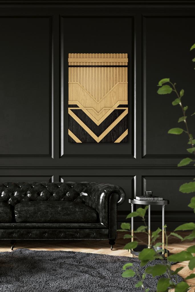 obraz drewniany w czarnym wnętrzu z czarnymi akcentami