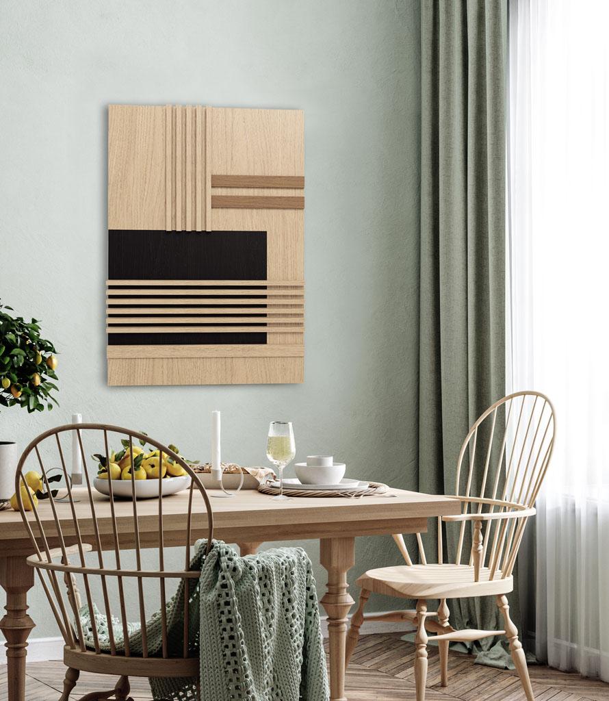 prosty obraz drewniany na ścianie