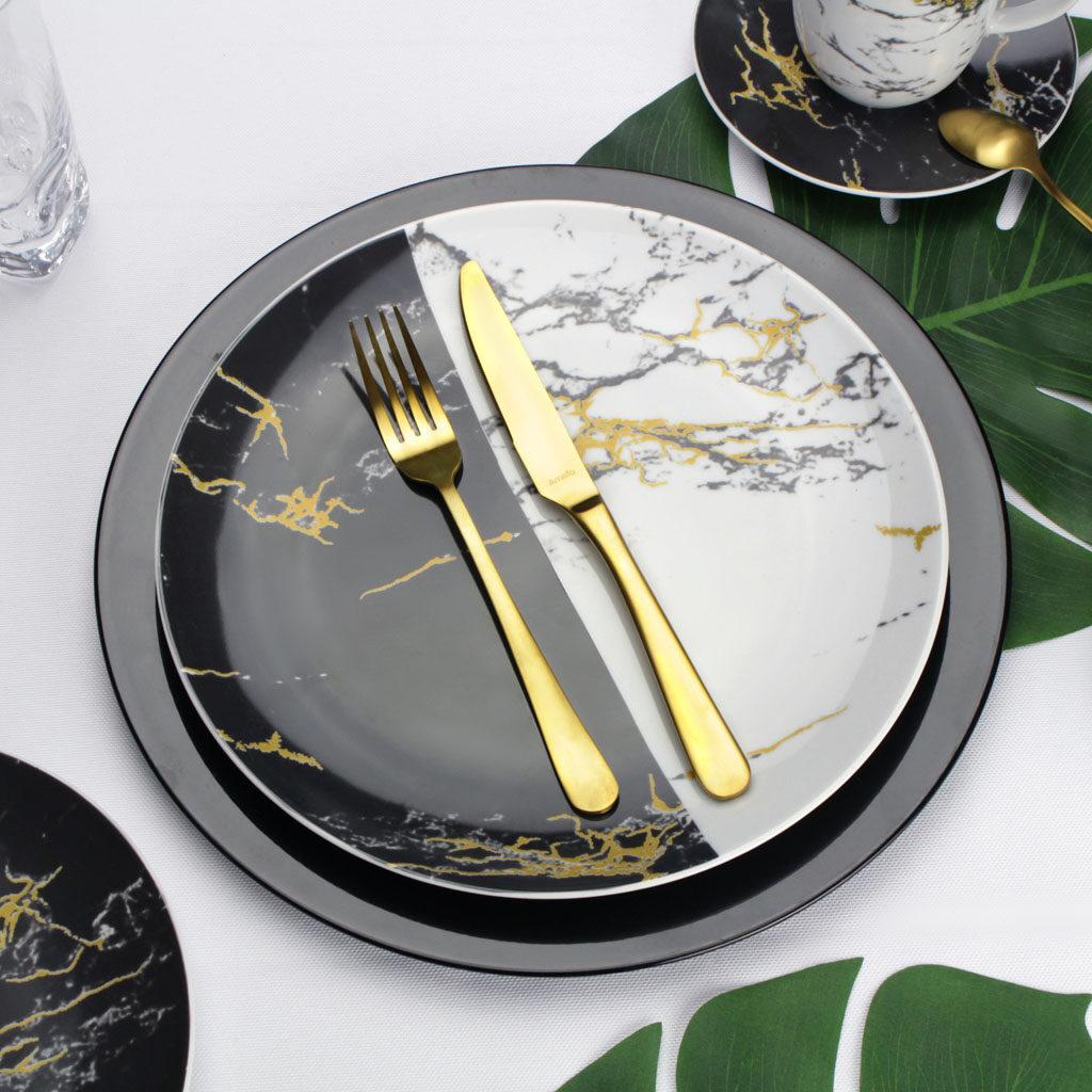 serwis obiadowy marmurkowy czarno biały ze złotym detalem